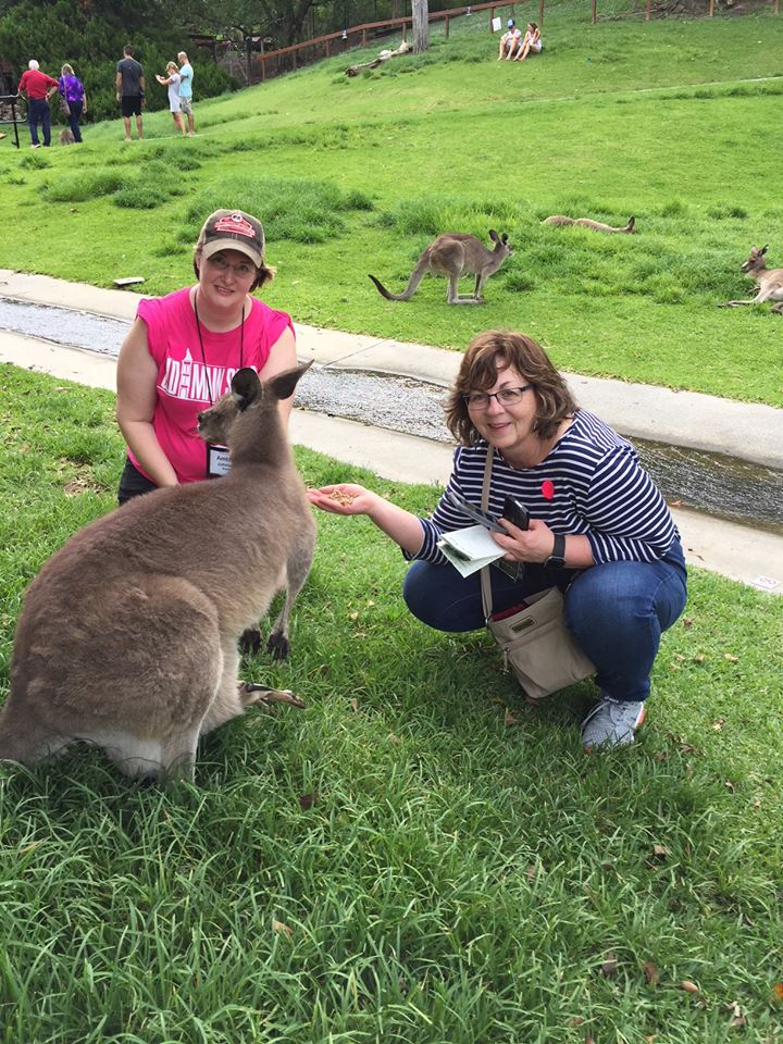 Lavonne and Amber With Kangaroo